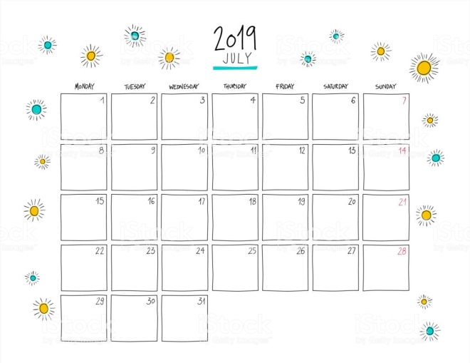 July 2019 wall calendar. Colorful sketch horizontal template.Letter size